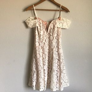 City Triangles lace nude mini dress